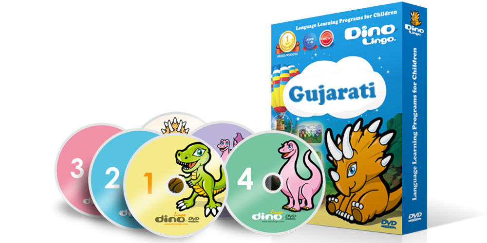 Gujarati for kids DVD set - Dino Lingo Checkout