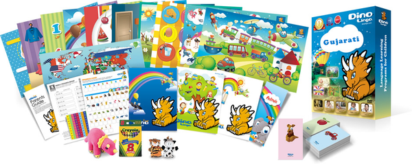 Gujarati for kids Poster & Book set - Dino Lingo Checkout