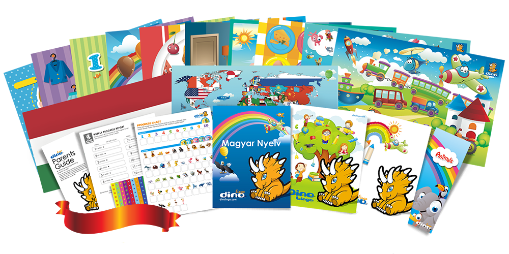 Hungarian for kids Poster & Book set - Dino Lingo Checkout