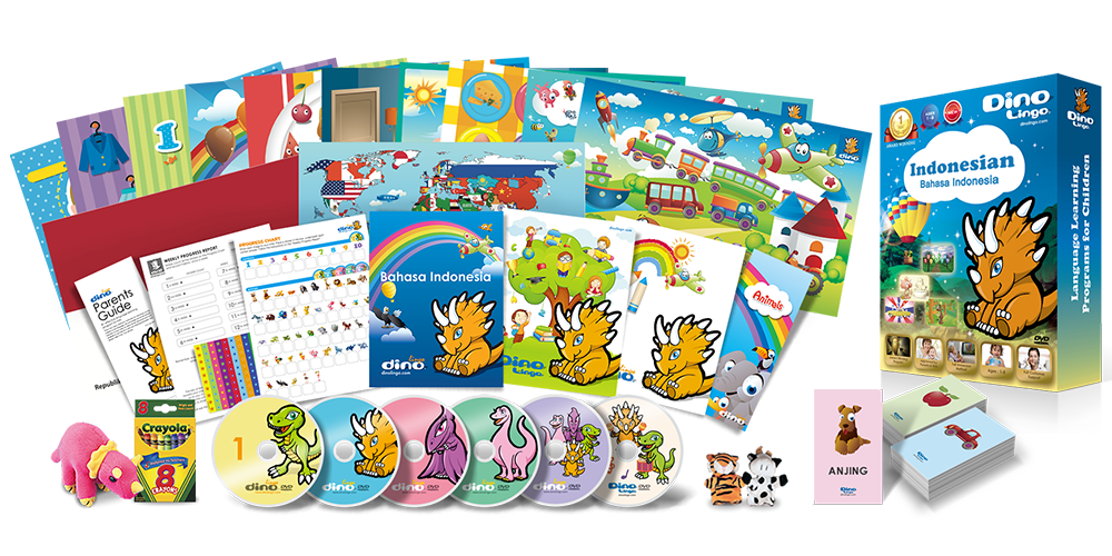 Indonesian for kids Deluxe set - Dino Lingo Checkout
