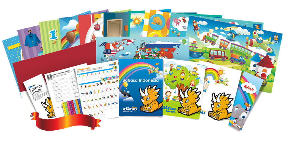 Indonesian for kids Poster & Book set - Dino Lingo Checkout