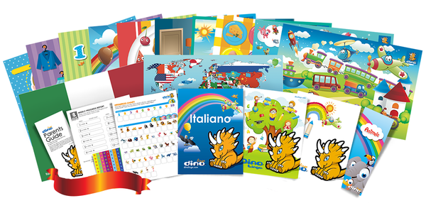 Italian for kids Poster & Book set - Dino Lingo Checkout