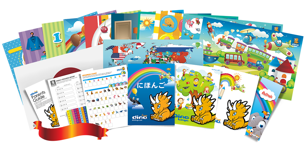 Japanese for kids Poster & Book set - Dino Lingo Checkout