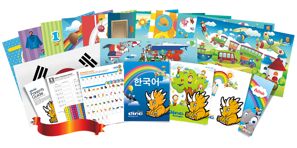 Korean for kids Poster & Book set - Dino Lingo Checkout