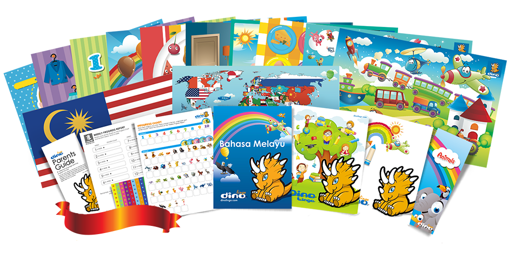 Malay for kids Poster & Book set - Dino Lingo Checkout