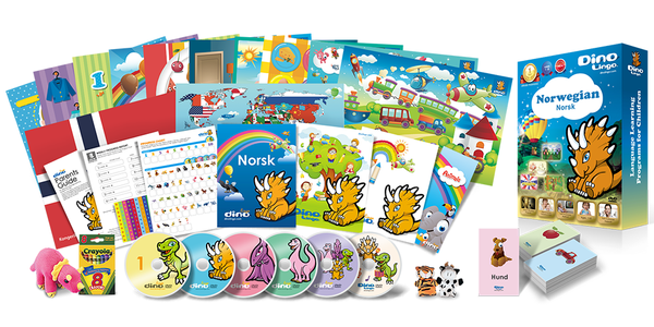 Norwegian for kids Deluxe set - Dino Lingo Checkout