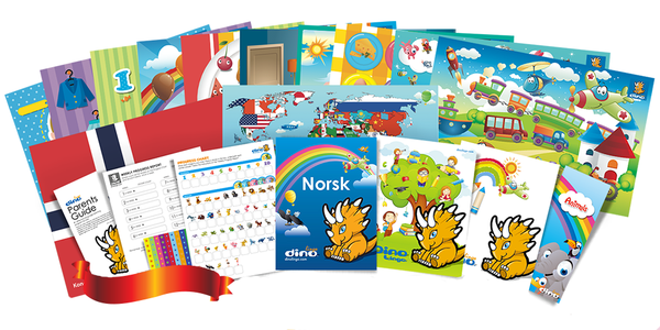 Norwegian for kids Poster & Book set - Dino Lingo Checkout