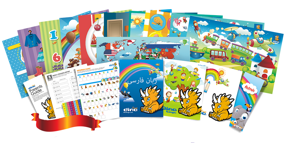 Persian for kids Poster & Book set - Dino Lingo Checkout