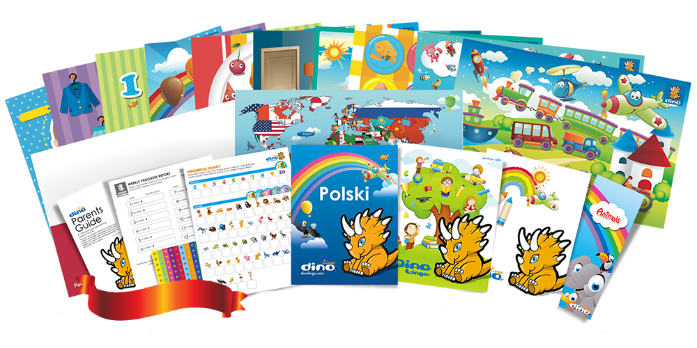 Polish for kids Poster & Book set - Dino Lingo Checkout
