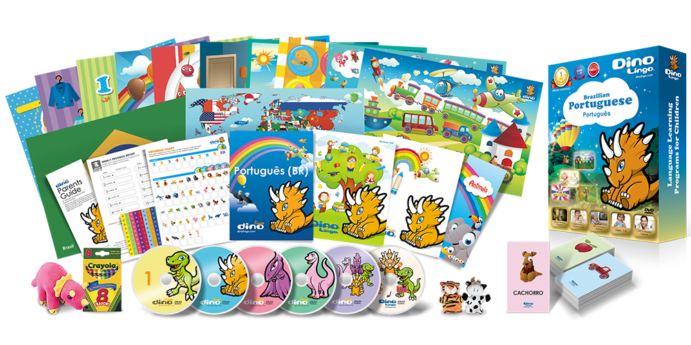 Portuguese for kids Deluxe set - Dino Lingo Checkout