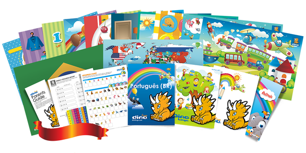 Portuguese for kids Poster & Book set - Dino Lingo Checkout