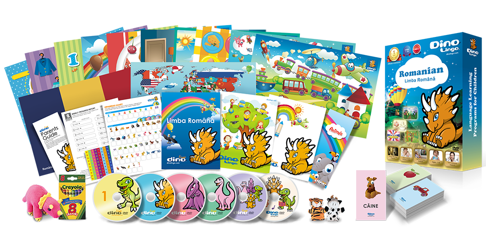 Romanian for kids Deluxe set - Dino Lingo Checkout