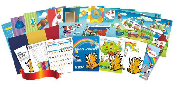 Romanian for kids Poster & Book set - Dino Lingo Checkout