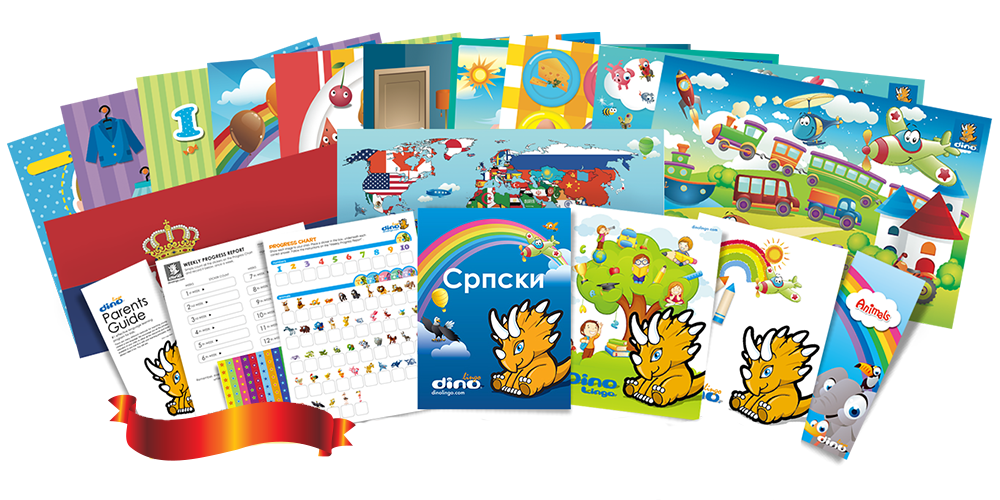 Serbian for kids Poster & Book set - Dino Lingo Checkout