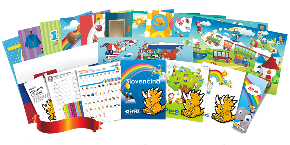 Slovak for kids Poster & Book set - Dino Lingo Checkout