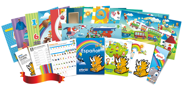 Spanish for kids Poster & Book set - Dino Lingo Checkout