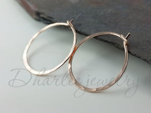 14K Rose Gold Filled Hoop Earrings, Choose Your Size