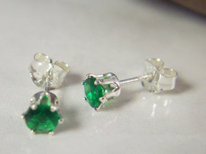 4mm Lab Emerald Sterling Silver Stud Earrings