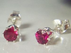 4mm Ruby Stud Earrings