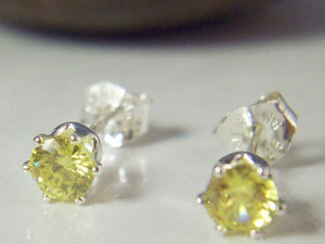 4mm Yellow Citrine Stud Earrings