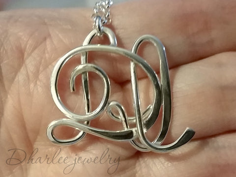 Sterling Silver Two Initial Necklace with Optional Birthstone
