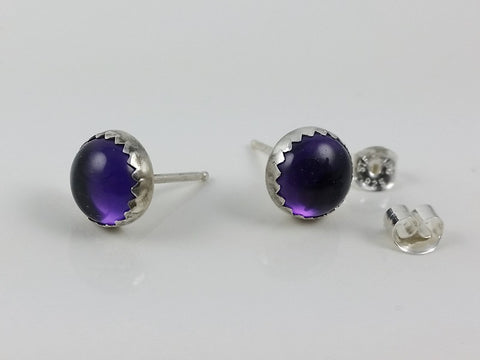Amethyst Stud Earrings Set in Sterling Silver