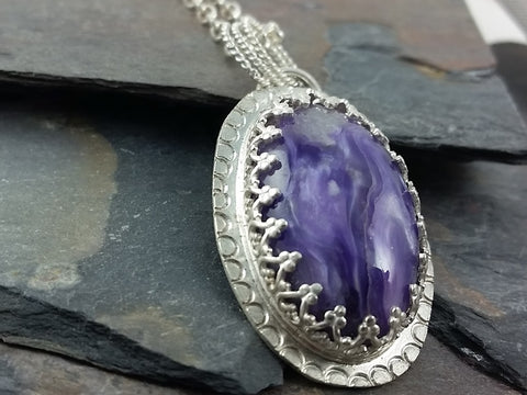 Charoite Necklace set in Sterling Silver
