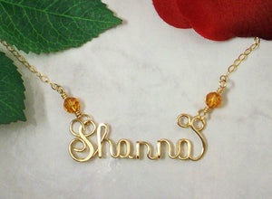 14K Gold Filled Calligraphy Style Name Necklace