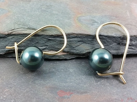 14K Gold Filled Kidney Wire and Swarovski Pearl Earrings