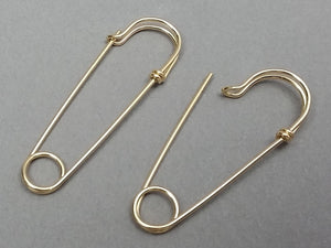 14K Yellow Gold Filled Medium Size Safety Pin Earrings