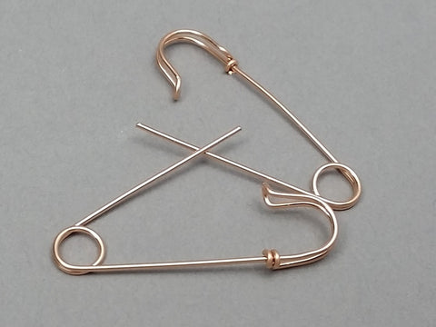 14K Rose Gold Filled Medium Size Safety Pin Earrings