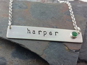 Sterling Silver Bar Necklace with Hand Stamped Name and Genuine Birthstone