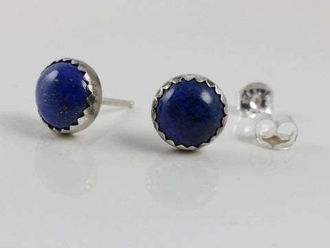 Lapis Lazuli Stud Earrings Set in Sterling Silver