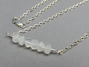 Genuine Raw Rainbow Moonstone and Sterling Silver Necklace
