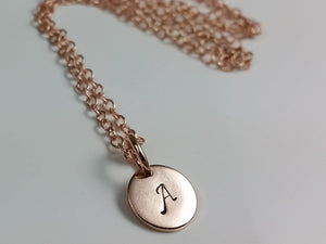 Tiny 14K Rose Gold Filled Initial Disk Necklace