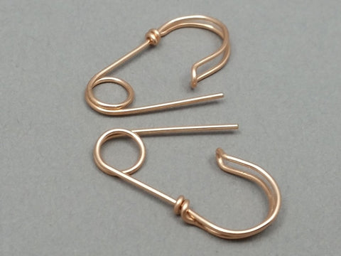 14K Rose Gold Filled Safety Pin Earrings