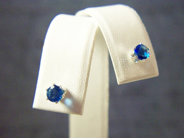 4mm Lab Created Sapphire Round Stud Earrings