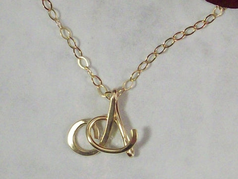 Small 14K gold Filled Calligraphy Style Initial Letter Necklace