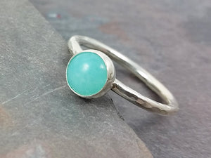 6mm Amazonite and Sterling Silver Stacking Ring