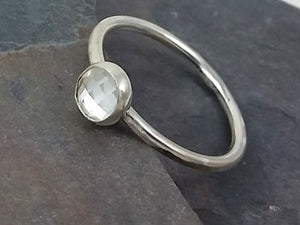 6mm Checkerboard Quartz Cabachon Stacking Ring