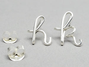 Sterling Silver Initial Earrings in Lowercase
