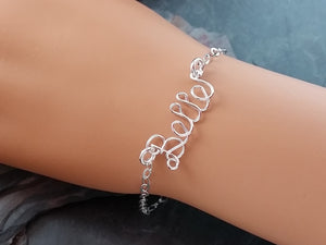 Sterling Silver Name or Word Bracelet or Anklet