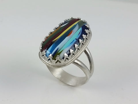 Surfite Ring set in Sterling Silver, US size 8.5
