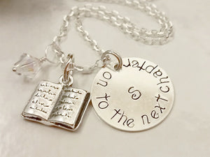 "Sterling Silver Personalized Stamped Disk stamped with ""on to the next chapter"""
