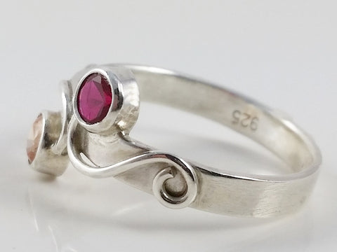 Sterling Silver 2 Gemstone Mothers or Couples Ring