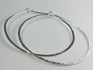 Extra Large Sterling Silver Hoop Earrings, one pair