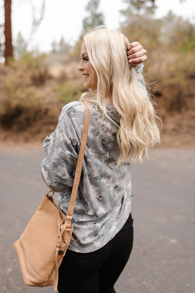 No Need To Be Distressed Top In Camo