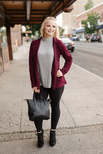 A Cut Above the Rest Blazer In Wine