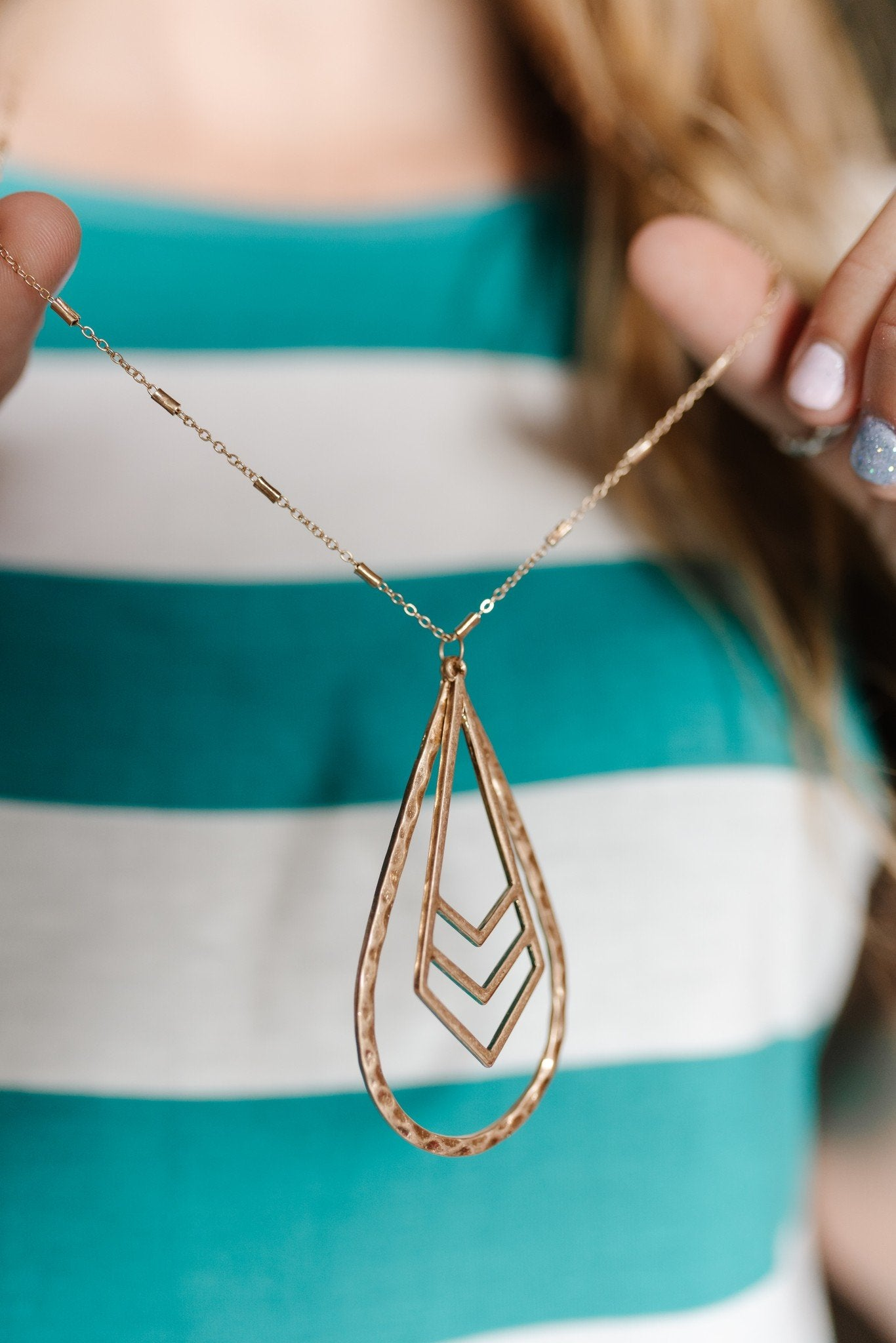 Chevron Charm Hammered Tear Drop Necklace