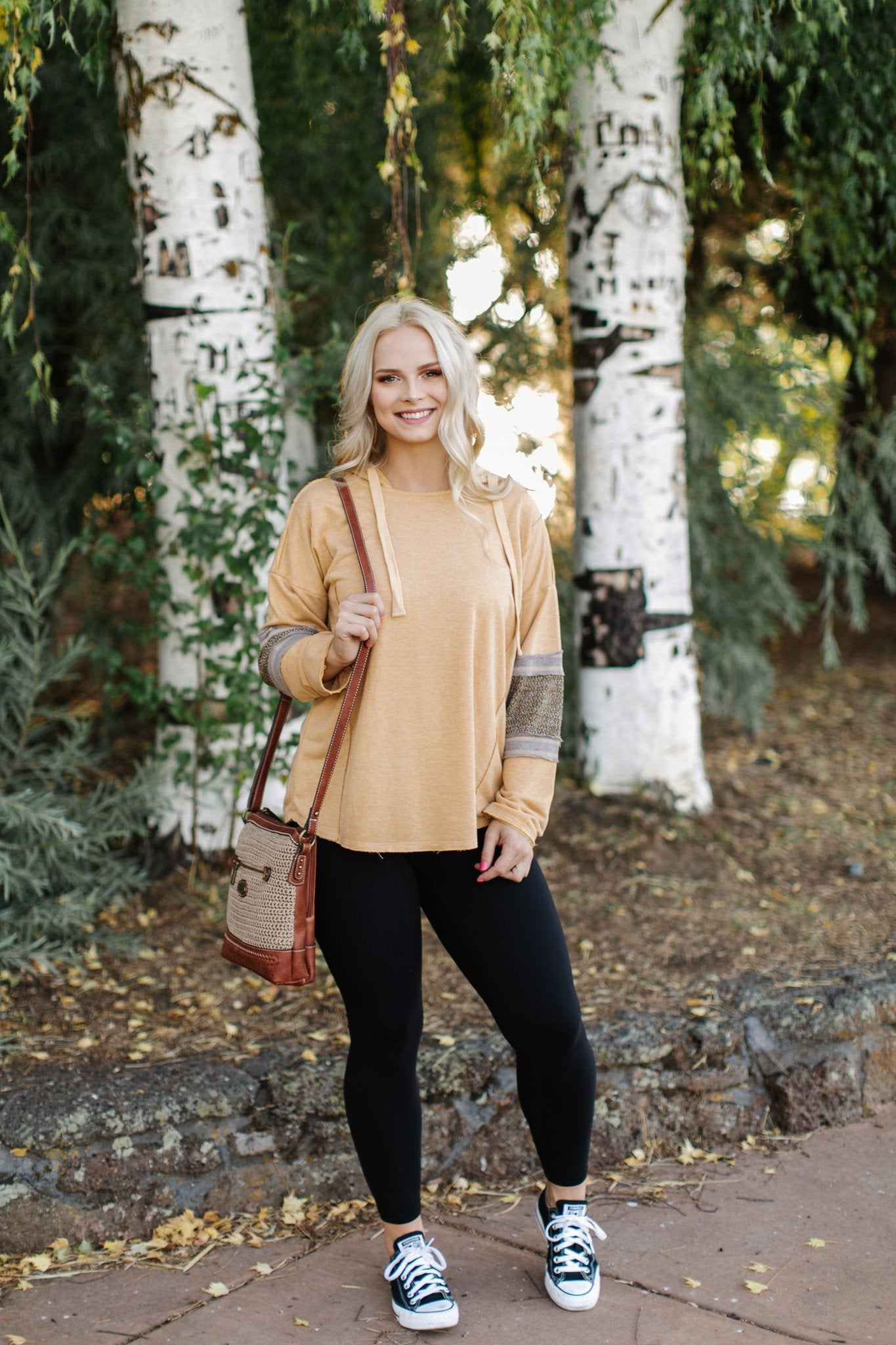 Stay Golden Pullover In Camel